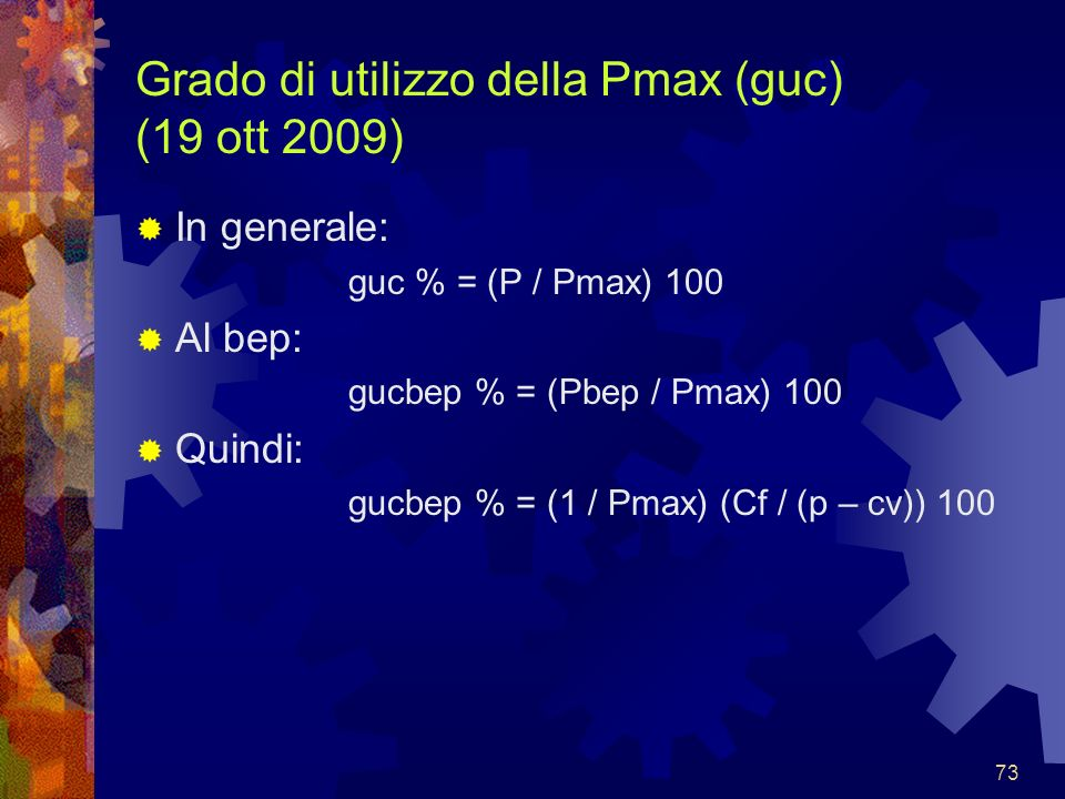 Grado di utilizzo della Pmax (guc) (19 ott 2009)