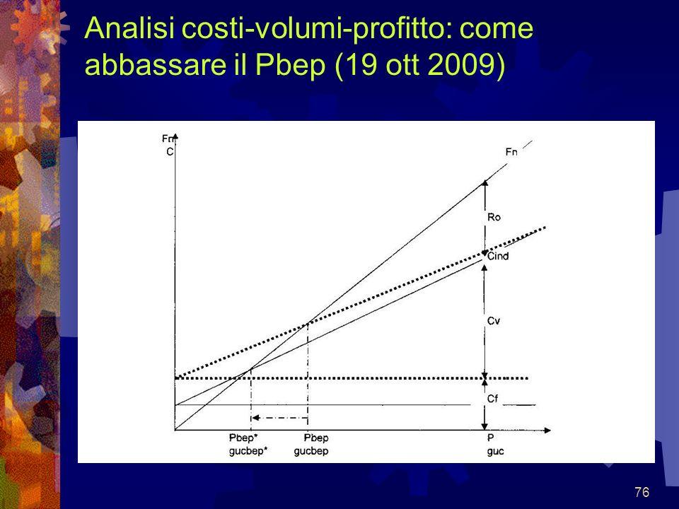 Analisi costi-volumi-profitto: come abbassare il Pbep (19 ott 2009)