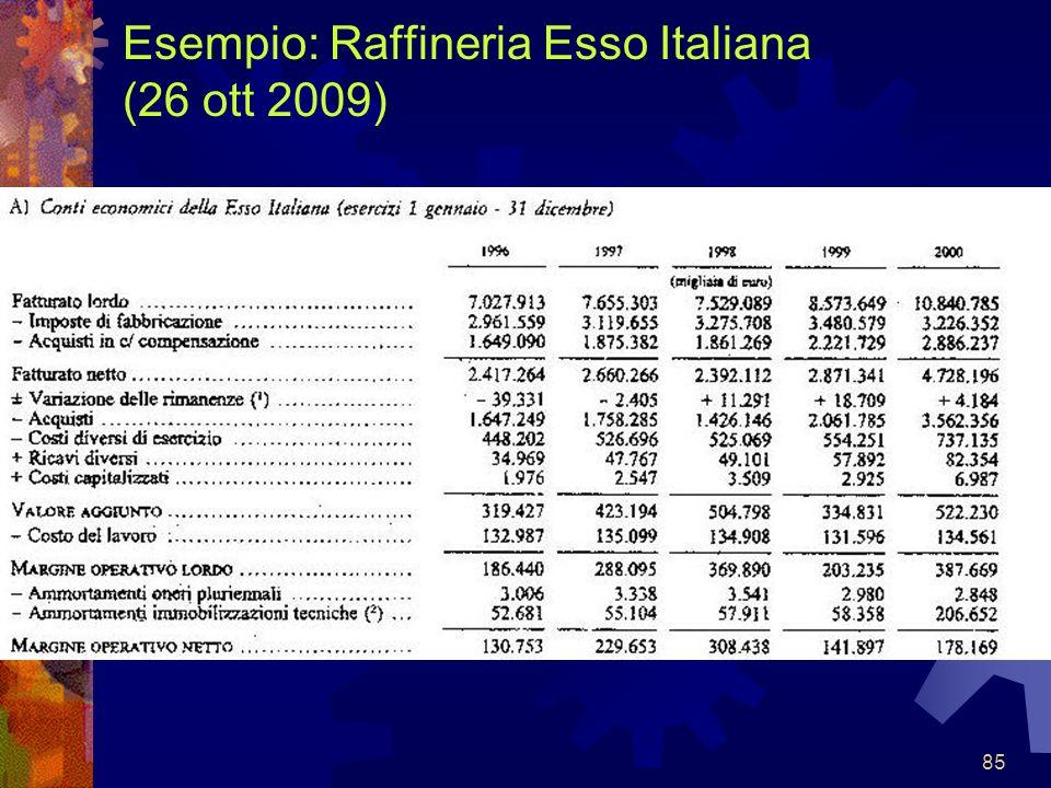 Esempio: Raffineria Esso Italiana (26 ott 2009)