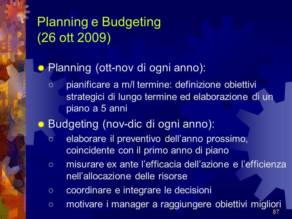 Planning e Budgeting (26 ott 2009)