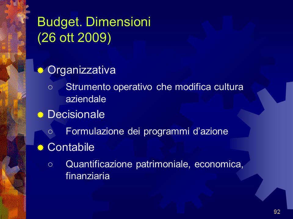 Budget. Dimensioni (26 ott 2009)