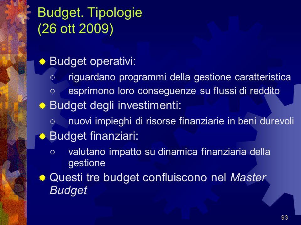 Budget. Tipologie (26 ott 2009)