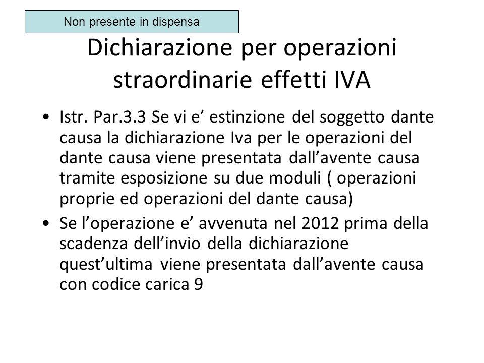 Dichiarazione per operazioni straordinarie effetti IVA