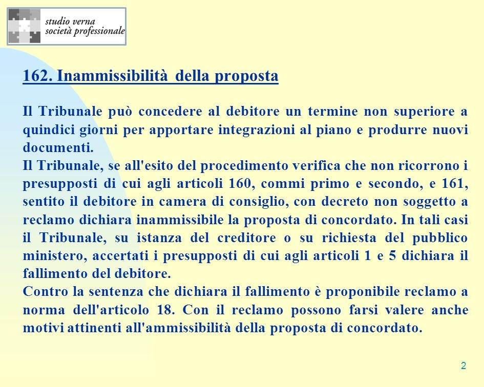 162. Inammissibilità della proposta