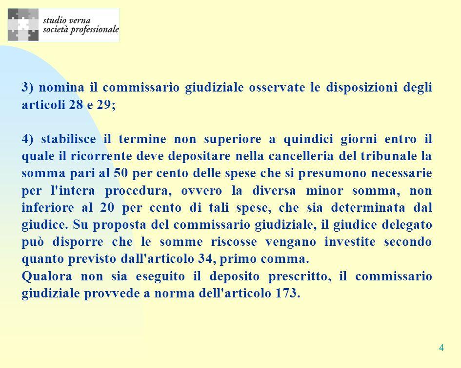 3) nomina il commissario giudiziale osservate le disposizioni degli articoli 28 e 29;