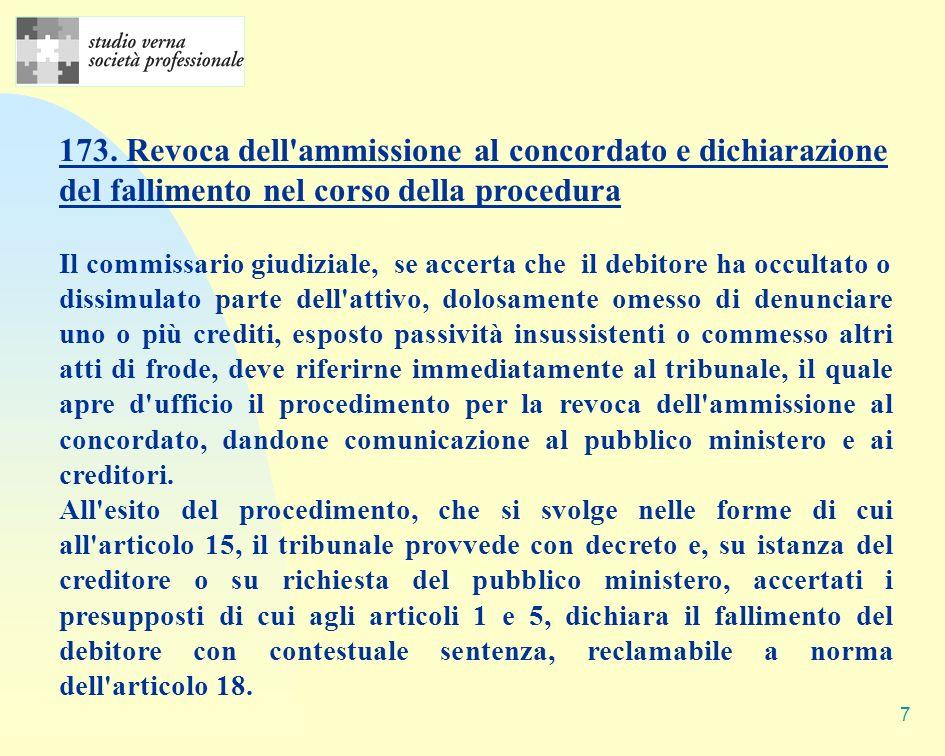 173. Revoca dell ammissione al concordato e dichiarazione del fallimento nel corso della procedura