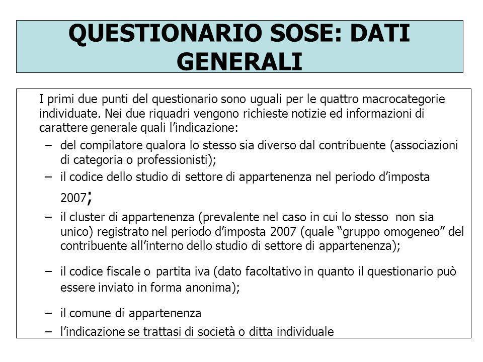QUESTIONARIO SOSE: DATI GENERALI