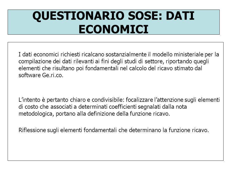 QUESTIONARIO SOSE: DATI ECONOMICI