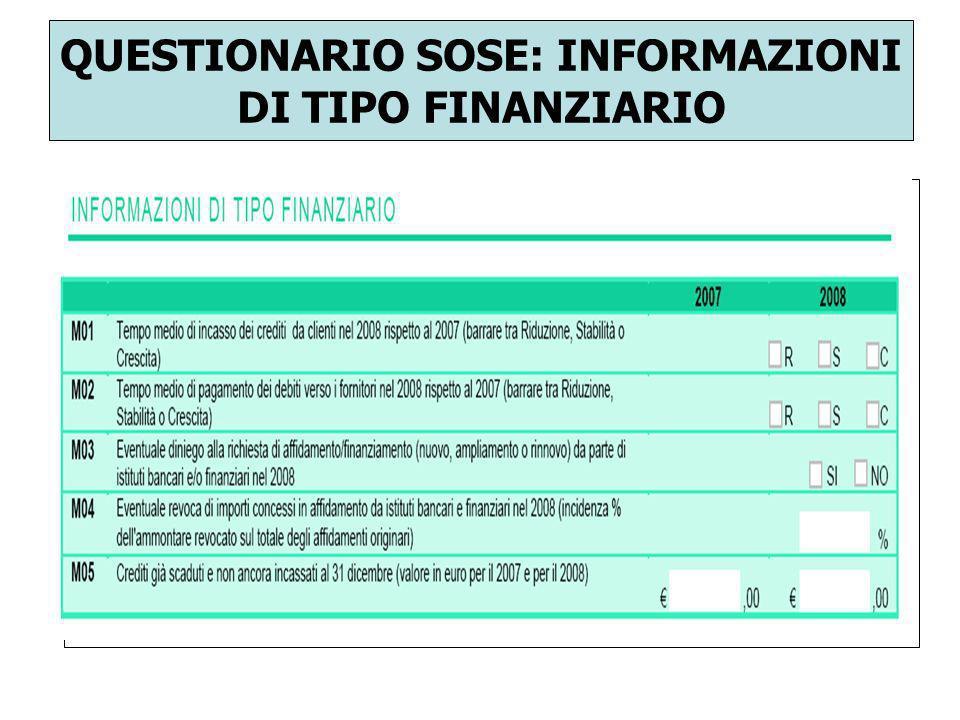QUESTIONARIO SOSE: INFORMAZIONI DI TIPO FINANZIARIO