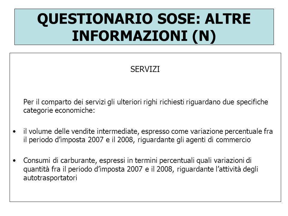 QUESTIONARIO SOSE: ALTRE INFORMAZIONI (N)