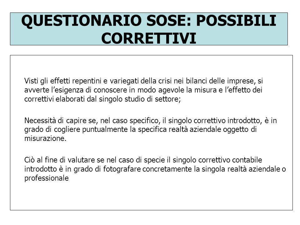QUESTIONARIO SOSE: POSSIBILI CORRETTIVI