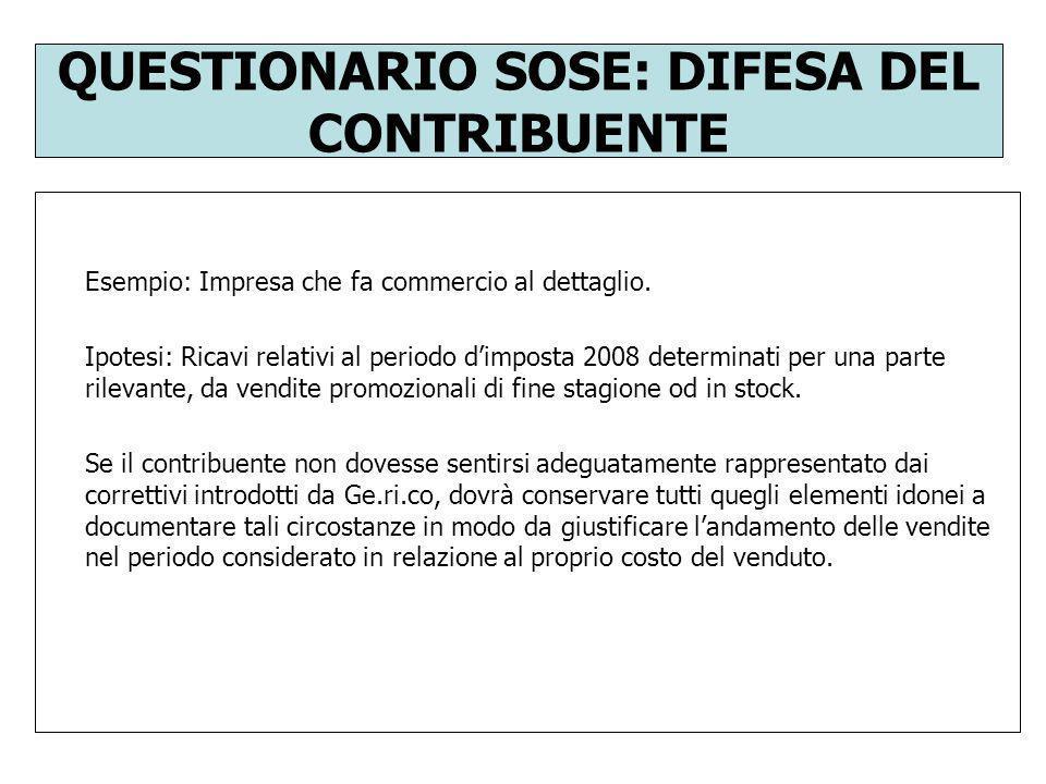 QUESTIONARIO SOSE: DIFESA DEL CONTRIBUENTE