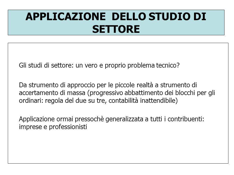 APPLICAZIONE DELLO STUDIO DI SETTORE