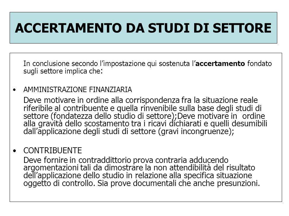 ACCERTAMENTO DA STUDI DI SETTORE