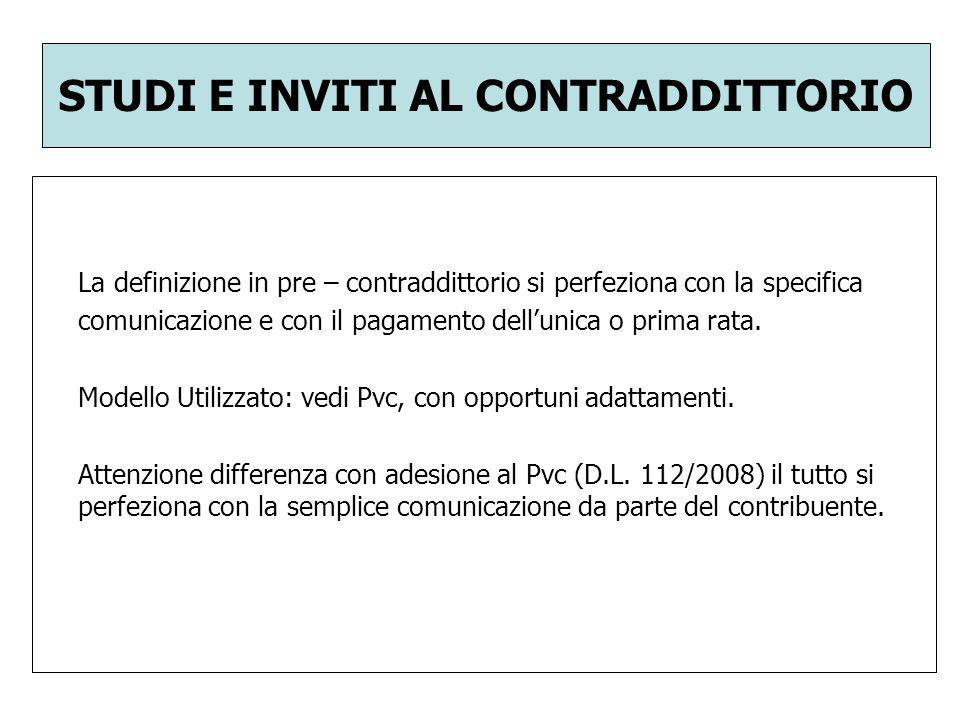 STUDI E INVITI AL CONTRADDITTORIO