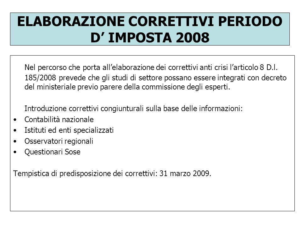 ELABORAZIONE CORRETTIVI PERIODO D' IMPOSTA 2008