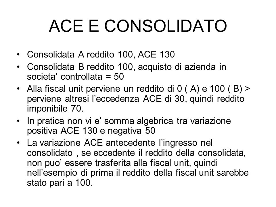 ACE E CONSOLIDATO Consolidata A reddito 100, ACE 130