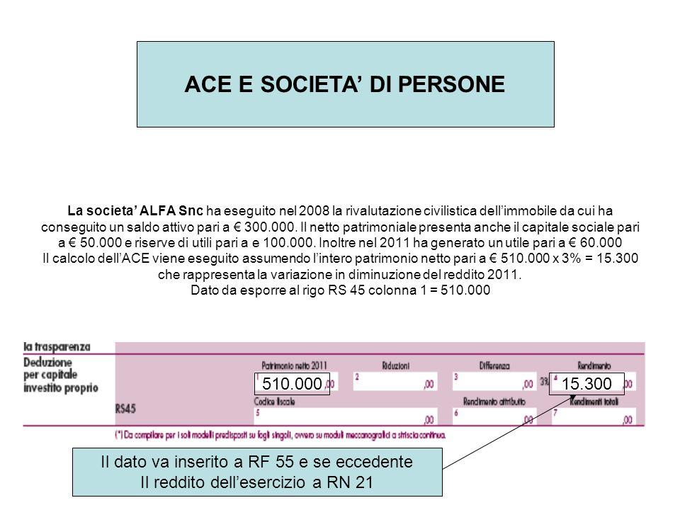 ACE E SOCIETA' DI PERSONE