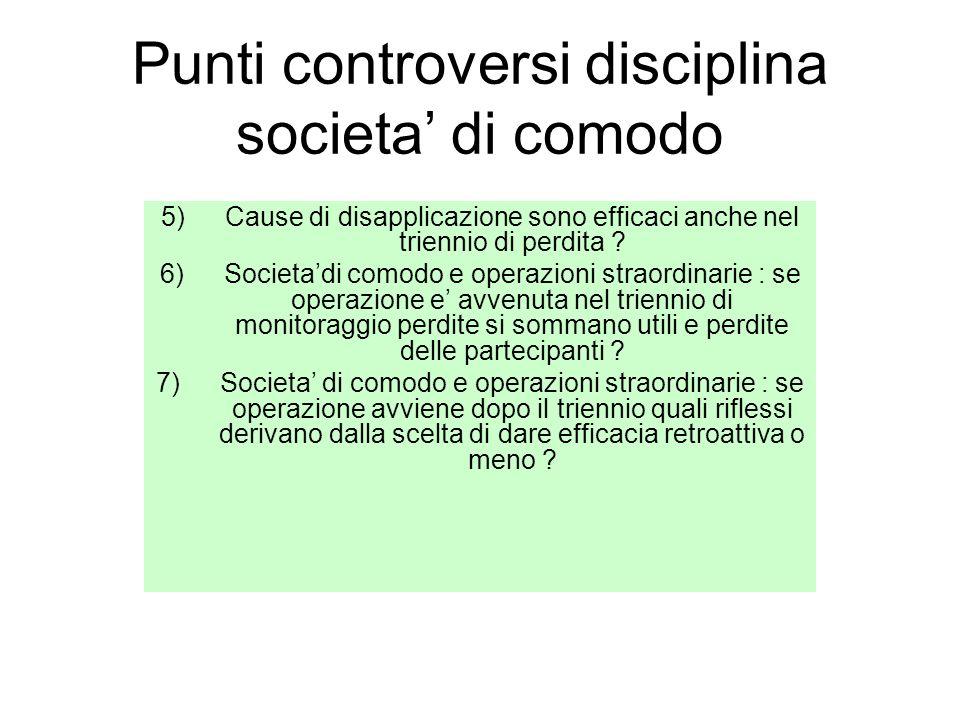 Punti controversi disciplina societa' di comodo