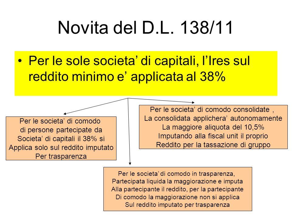 Novita del D.L. 138/11 Per le sole societa' di capitali, l'Ires sul reddito minimo e' applicata al 38%