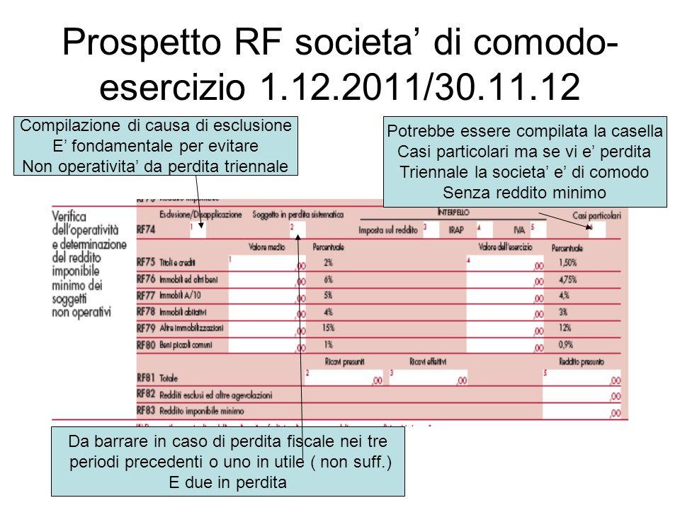Prospetto RF societa' di comodo- esercizio 1.12.2011/30.11.12