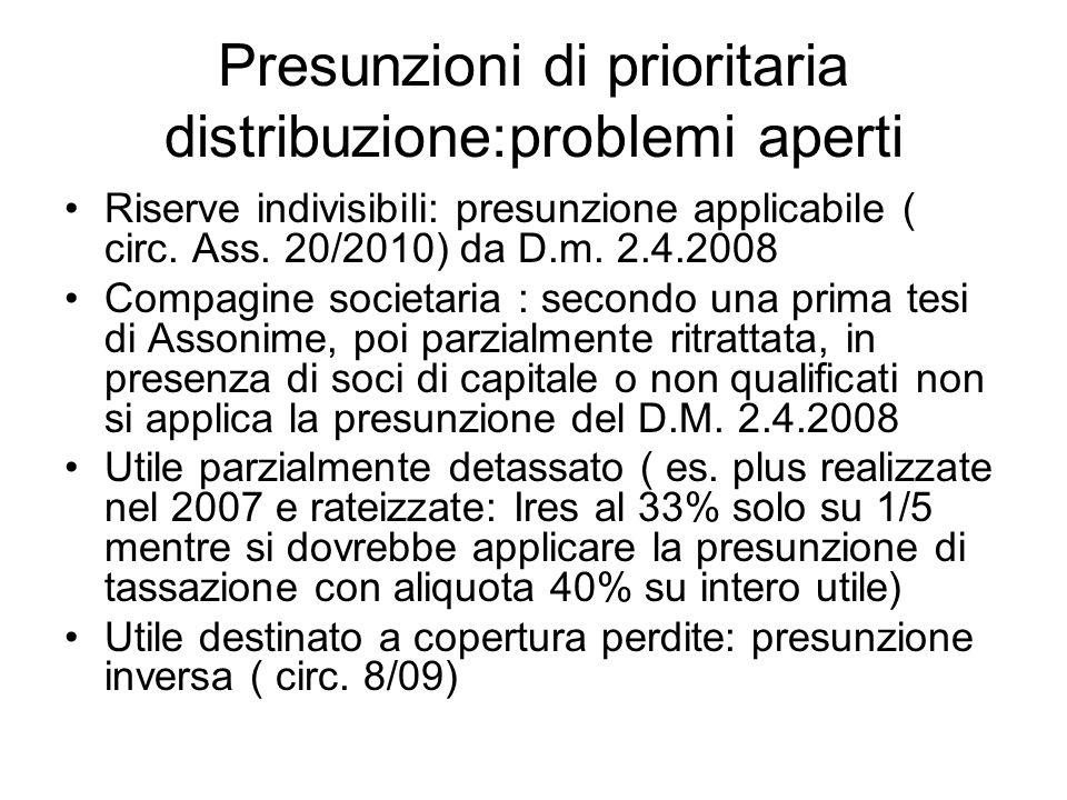 Presunzioni di prioritaria distribuzione:problemi aperti