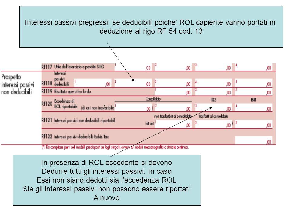 deduzione al rigo RF 54 cod. 13
