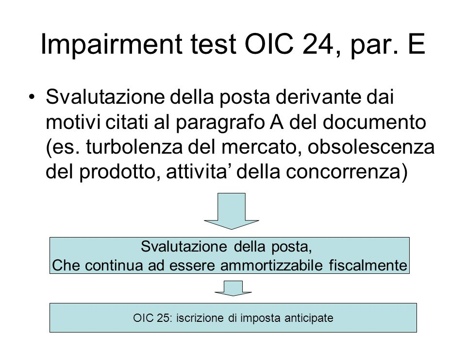 Impairment test OIC 24, par. E
