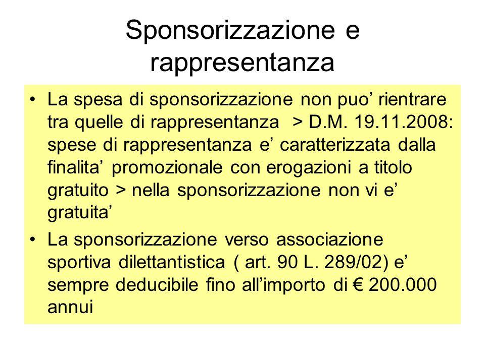 Sponsorizzazione e rappresentanza