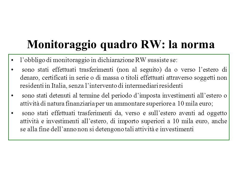 Monitoraggio quadro RW: la norma