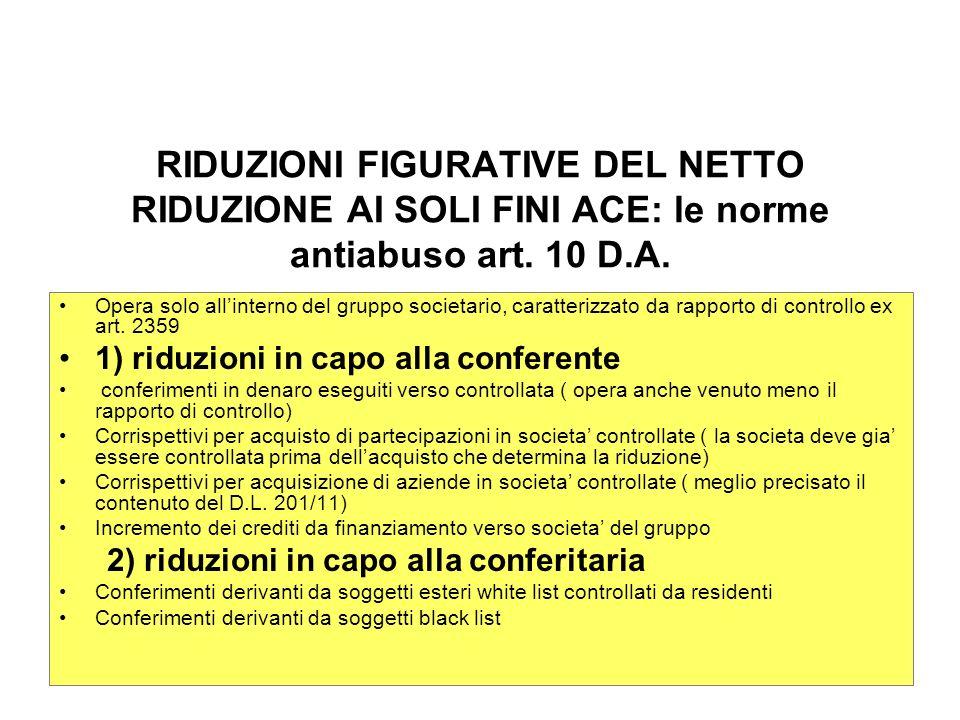 ACE BILANCIO RIDUZIONI FIGURATIVE DEL NETTO RIDUZIONE AI SOLI FINI ACE: le norme antiabuso art. 10 D.A.