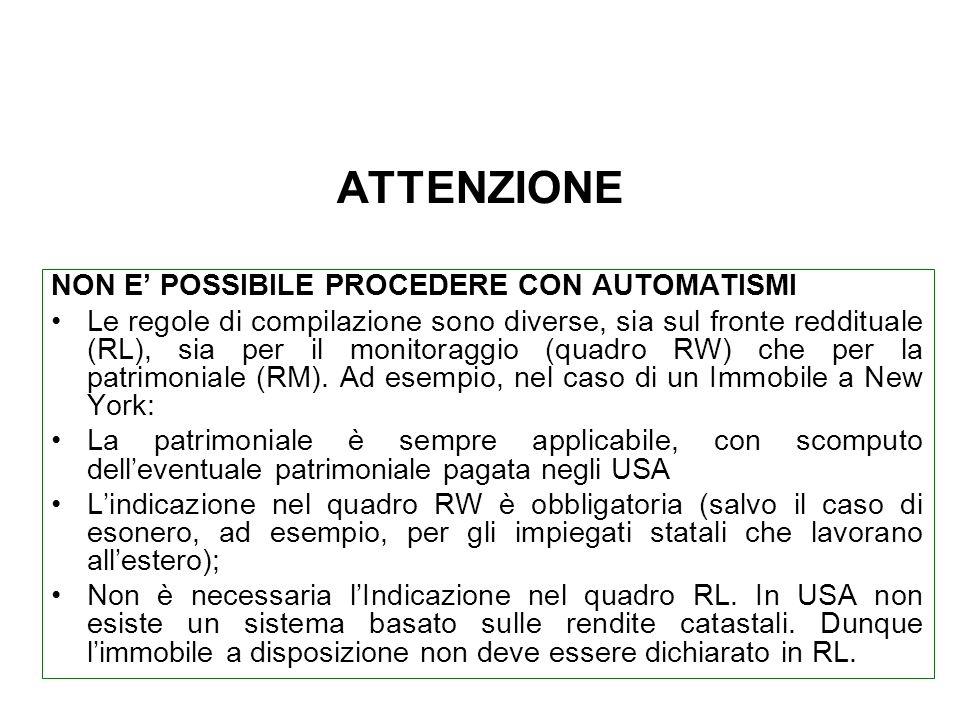 ATTENZIONE NON E' POSSIBILE PROCEDERE CON AUTOMATISMI