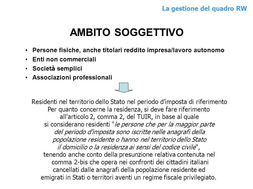 AMBITO SOGGETTIVO La gestione del quadro RW