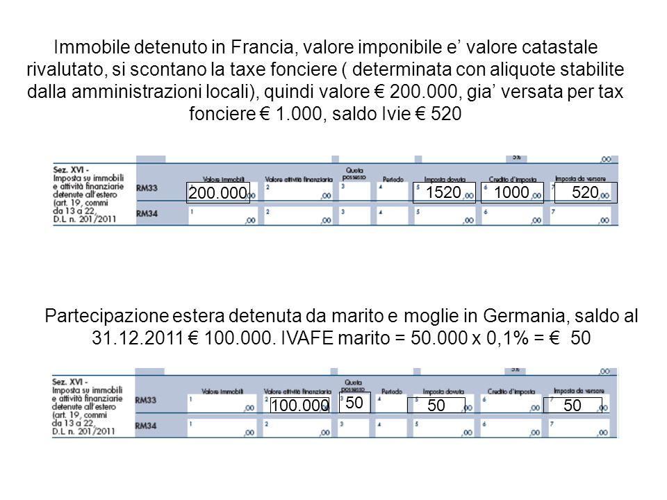 Immobile detenuto in Francia, valore imponibile e' valore catastale rivalutato, si scontano la taxe fonciere ( determinata con aliquote stabilite dalla amministrazioni locali), quindi valore € 200.000, gia' versata per tax fonciere € 1.000, saldo Ivie € 520