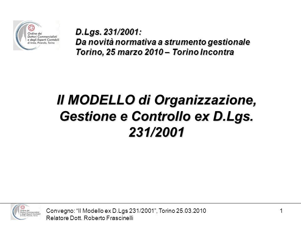 Il MODELLO di Organizzazione, Gestione e Controllo ex D.Lgs. 231/2001