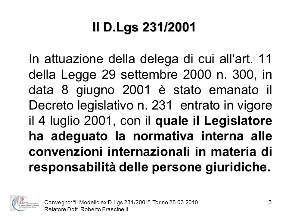 Il D.Lgs 231/2001