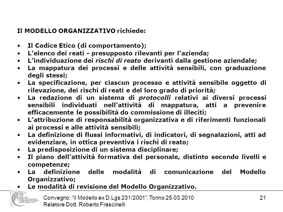 Il MODELLO ORGANIZZATIVO richiede: Il Codice Etico (di comportamento);