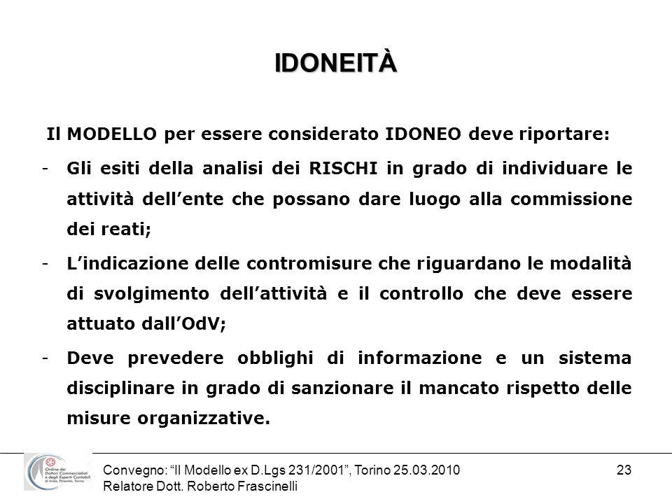 IDONEITÀIl MODELLO per essere considerato IDONEO deve riportare: