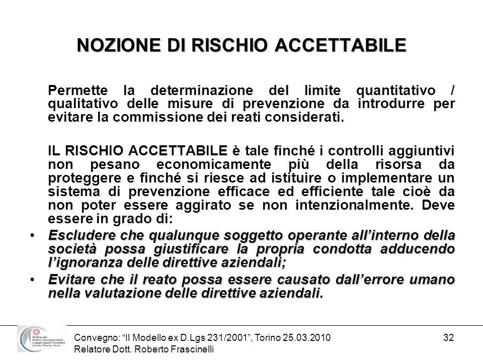 NOZIONE DI RISCHIO ACCETTABILE
