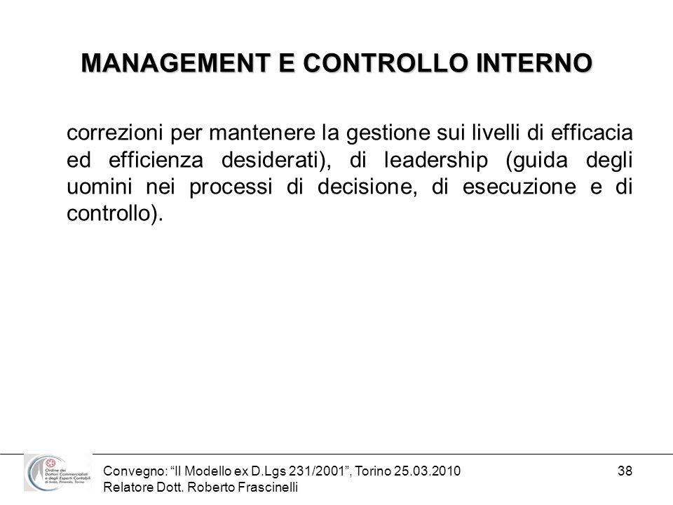 MANAGEMENT E CONTROLLO INTERNO