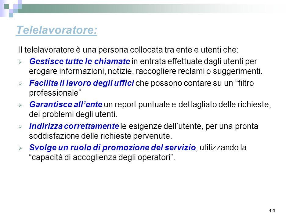 Telelavoratore: Il telelavoratore è una persona collocata tra ente e utenti che: