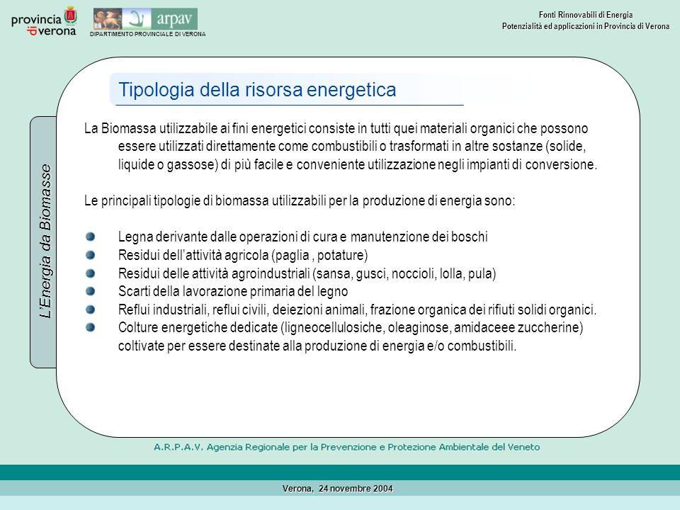 Tipologia della risorsa energetica
