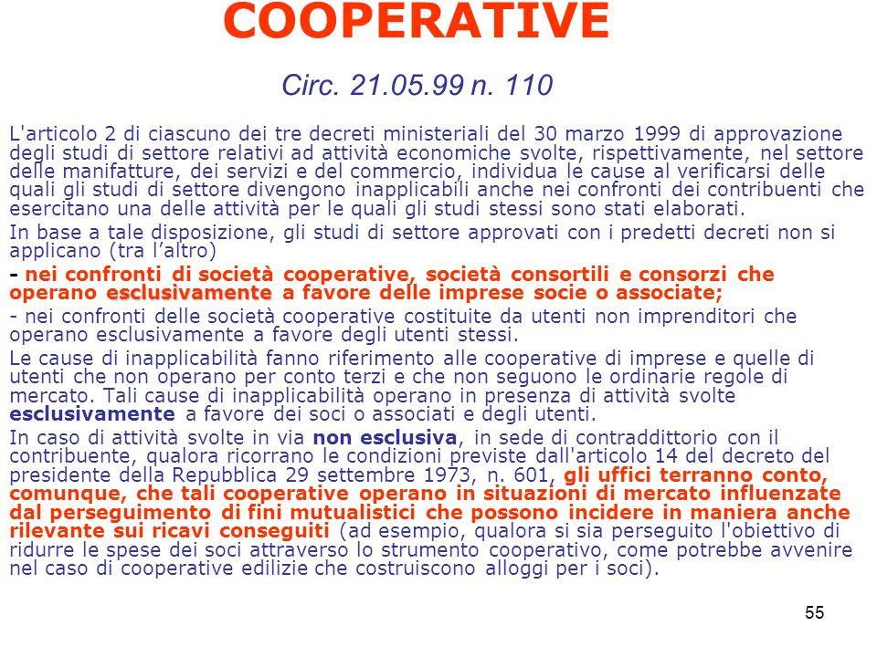 COOPERATIVE Circ. 21.05.99 n. 110