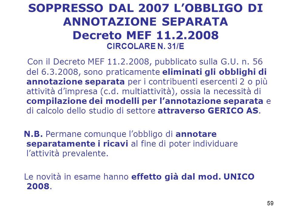 SOPPRESSO DAL 2007 L'OBBLIGO DI ANNOTAZIONE SEPARATA Decreto MEF 11. 2