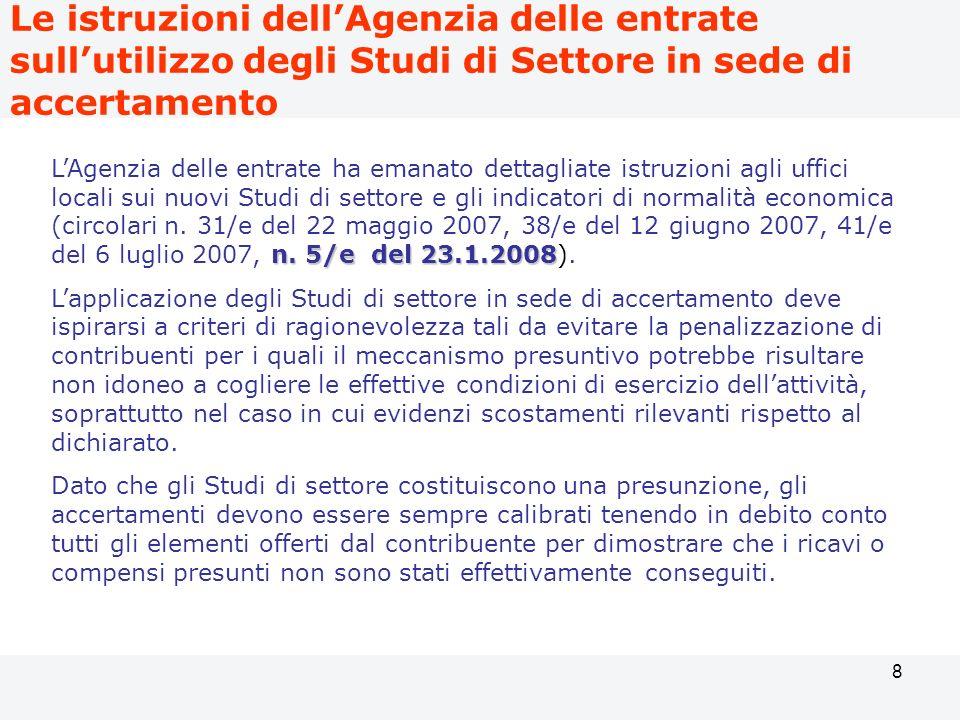 Le istruzioni dell'Agenzia delle entrate sull'utilizzo degli Studi di Settore in sede di accertamento