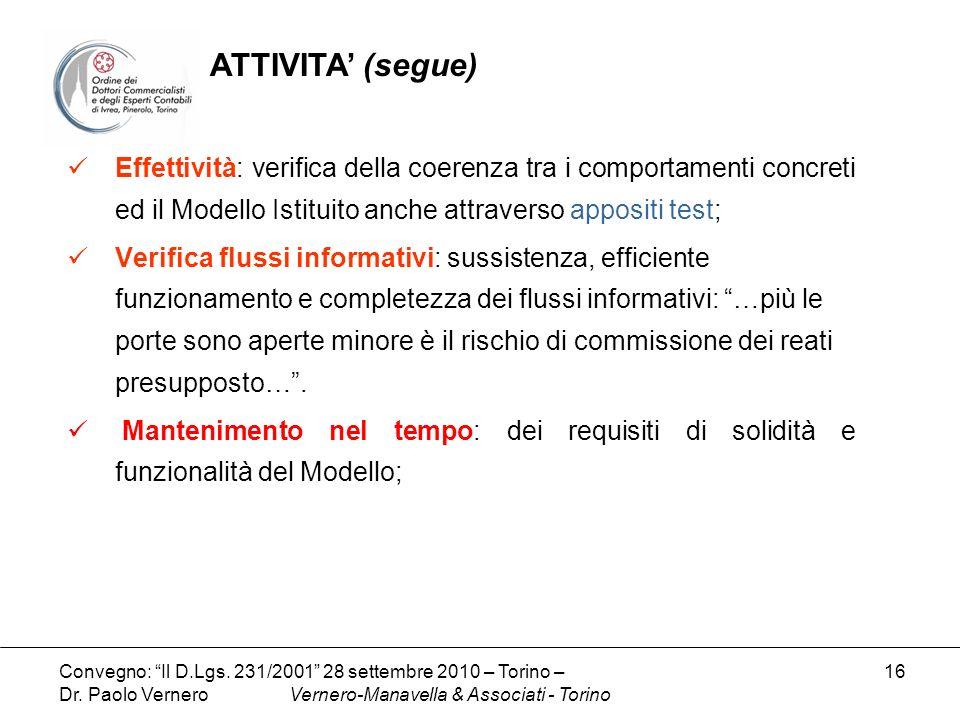 ATTIVITA' (segue) Effettività: verifica della coerenza tra i comportamenti concreti ed il Modello Istituito anche attraverso appositi test;