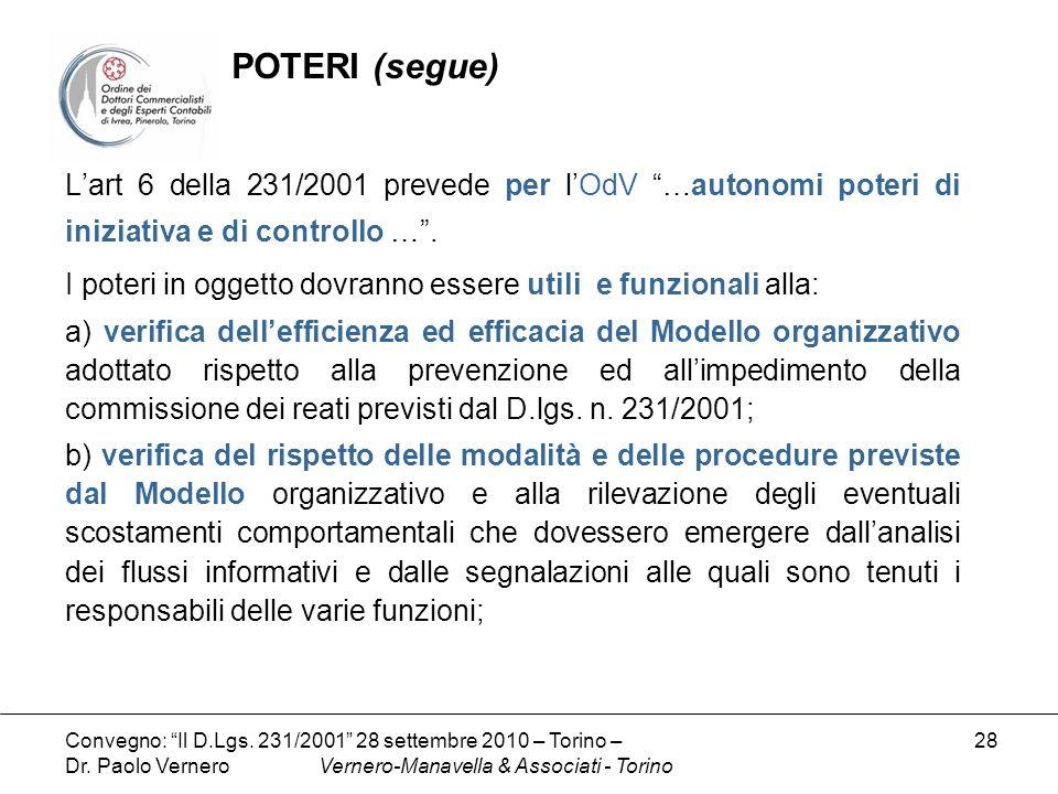 POTERI (segue) L'art 6 della 231/2001 prevede per l'OdV …autonomi poteri di iniziativa e di controllo … .
