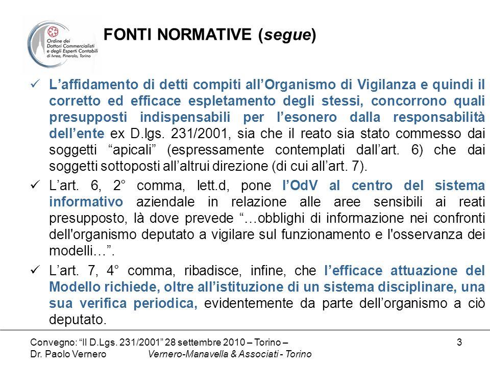 FONTI NORMATIVE (segue)