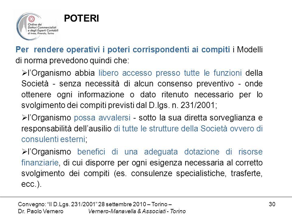 POTERIPer rendere operativi i poteri corrispondenti ai compiti i Modelli di norma prevedono quindi che: