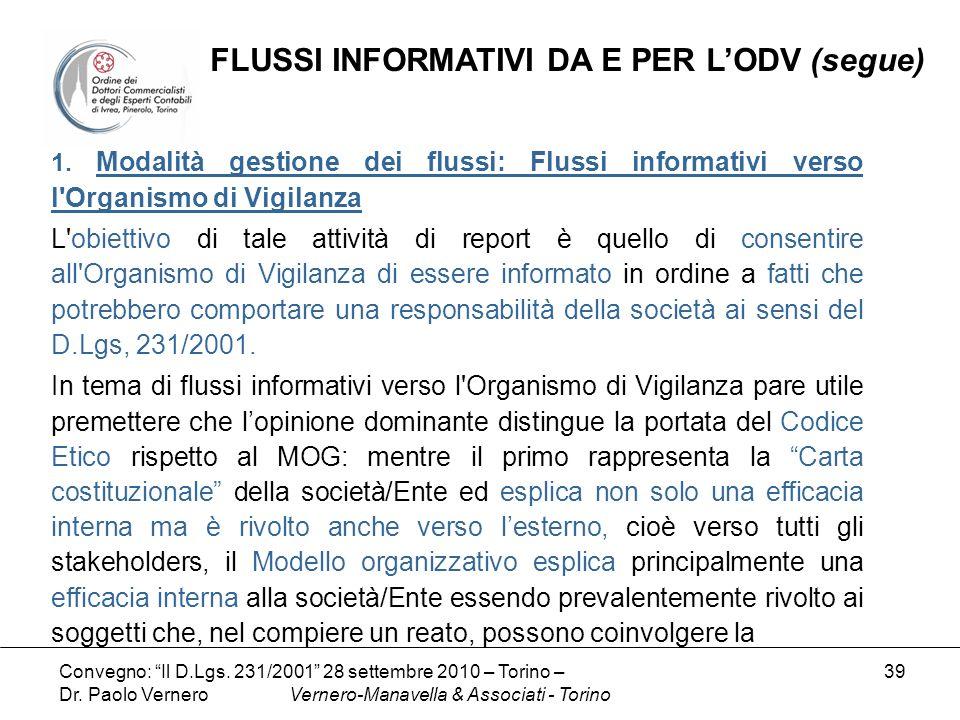 FLUSSI INFORMATIVI DA E PER L'ODV (segue)